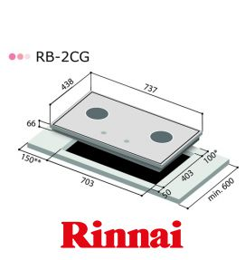Bếp Gas Âm Rinnai RB-2CG(B) - Made In Japan
